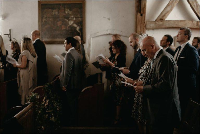 Wedding Guests singing at St Thomas the Apostle church